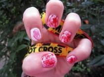 wedding photo - Blood Splatter And Fingerprint Nail Art Tutorial