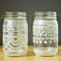 wedding photo - Hand Painted Mason Jar Moroccan Lantern, Lace Design In White Pearl - On Crystal Clear Glass
