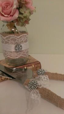 wedding photo - Rustic Wedding Centerpiece Burlap And Lace Wedding Mason Jar Centerpiece Burlap And Brooch Set Of 6