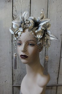 wedding photo - The Grey Lady - Headdress Of Handpainted Grey Lilies, Howlite Skulls, Vintage Pearls, Swarovski Crystals And Vintage Lace - To Order