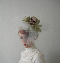 wedding photo - Maman Brigitte - Crystal Skull , Tulle, Leather And Lace Fascinator. - Ready To Ship
