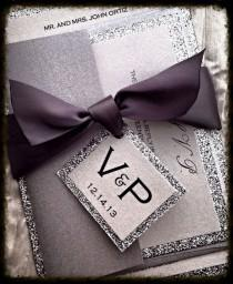wedding photo - Silver Glitter Wedding Invitation And RSVP Set Ribbon Monogram