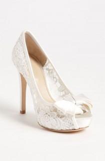 wedding photo - Sheer White Lace Peep Toe Wedding Shoe.