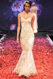 wedding photo - Claire Pettibone - Fall 2014 - Alchemy Gold Lace Mermaid Wedding Dress With Scalloped Hem And Spaghetti Straps