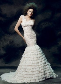 wedding photo - One Shoulder Strap Wedding Dress Inspiration