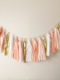 wedding photo - Peach, Blush And Gold Tassel Garland Banner - Party Decor, Wedding Decor, Birthday Party, Photo Backdrop, Baby Shower And Party Decoration