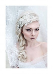 wedding photo - My Enchanting Miriam Bridal Hairpiece - Shimmering Hair Piece With Flowers, Crystals, Lace And Pearls