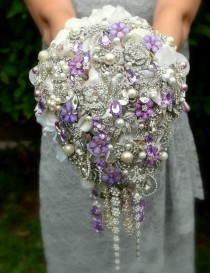 wedding photo - Deposit On Lavender Cascading Jeweled Brooch Bouquet -- Made To Order Wedding Brooch Bouquet