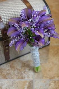wedding photo - Reserved For Amber - Real Touch Purple Calla Lily Wedding Bouquet - Purple Gray And Silver