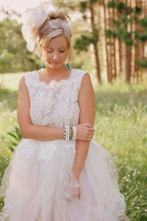 wedding photo - Blush Pink Wedding Dress With Separate Skirt And Top- Custom Order In Any Color