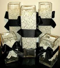 wedding photo - Lace Vase Sleeve Wrap DIY Wedding Centerpiece - Large