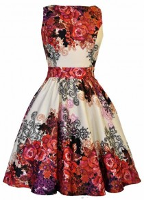 wedding photo - Red Rose Floral Collage On Cream Tea Dress