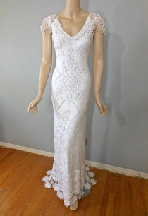 wedding photo - White Crochet Hippie WEDDING DRESS Bohemian Wedding Dress White LACE Wedding Gown Plunging Back Train Sz Medium