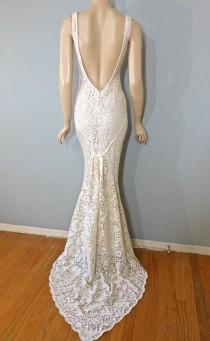 wedding photo - Angelic Hippie Wedding Dress Crochet Cream LACE Wedding Gown Boho Wedding Dress Plunging Back Mermaid Wedding Dress Sz Small