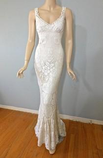 wedding photo - Vintage Style Victorian WEDDING Dress Crochet Ivory LACE Bohemian Wedding Dress Sheer Plunging Back Wedding Gown Cap Sleeve M