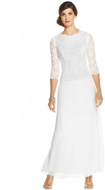 wedding photo - Alex Evenings Three-Quarter-Sleeve Sequin-Lace Gown