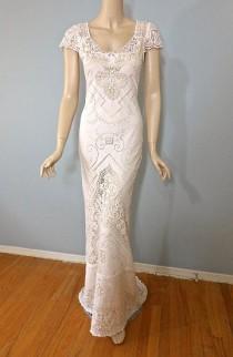 wedding photo - Angelic Blush Wedding Gown Bohemian Wedding Dress Crochet LACE Wedding Gown Sheer Back Cap Sleeve Sz Small