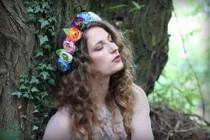 wedding photo - Pastel Flower Peony Crown, Floral Hairband, Flower Garland, Lana Del Ray, Wedding Headpiece, Nature Inspired