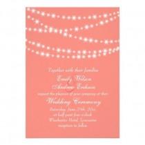 wedding photo - Coral Twinkle Lights Wedding Invitation