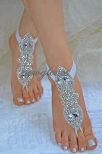 wedding photo - Organza Ivory Barefoot Sandals, Nude Shoes, Foot Jewelry, Wedding, Victorian Lace, Sexy, Yoga, Anklet , Bellydance, Steampunk, Beach Pool