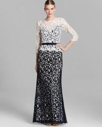 wedding photo - Tadashi Shoji Gown - Three Quarter Sleeve Lace Ribbon Belt