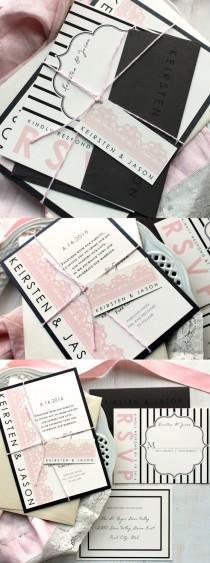 wedding photo - Modern Wedding Invitations, Black And Pink Wedding, Lace Wedding Invitations, Lace Invite, Striped Wedding Invitation - Modern Lace Sample