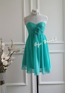 wedding photo - Turquoise Floral Bridesmaid Dress , Party Dress , Knee Length Dress