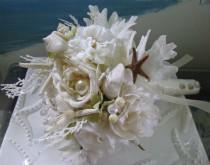 wedding photo - Seashell Beach Wedding Bridal Bouquet-Coral Bridal Bouquet-White Bridal Bouquet
