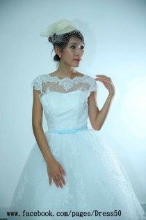 wedding photo - 50's Inspired Polka Dots LACE Wedding Dress Features Buttons Up Back View And Cape Sleeves_make To Measurement