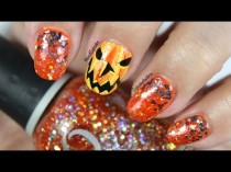 wedding photo - Halloween Nail Art *abstract Jack-O-Lantern*