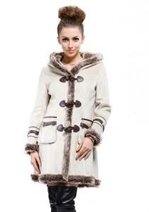 wedding photo - Beige suede with faux wool long suede coat