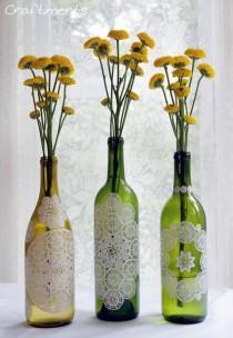 wedding photo - Adding Paper Doilies To Bottles.