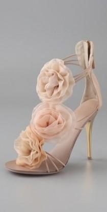 wedding photo - Chiffon Rosette Sandals