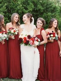 wedding photo - Burgundy Bridesmaids Dresses