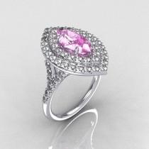 wedding photo - Soleste Style Bridal 10K White Gold 1.0 Carat Marquise Light Pink Sapphire Diamond Engagement Ring R117-10WGDLPS