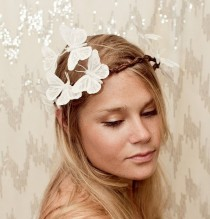 wedding photo - White Sparkle Butterfly Crown - Wedding, Bride, Fantasy, Woodland