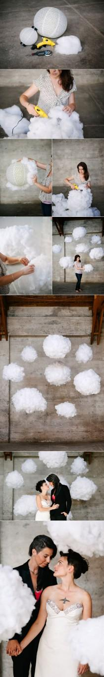 wedding photo - How To: Surreal DIY Cloud Wedding Backdrop