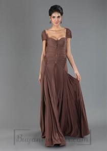 Floor Length V-back Short Sleeve Evening Dress e25c24808
