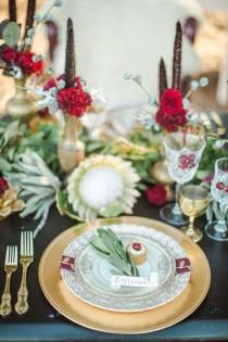 wedding photo - Red Velvet – Luxe Winter Styling In Leather And Lace