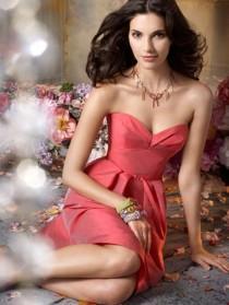 wedding photo - Cherry Color Silky Taffeta Strapless A-line Knee-length Bridesmaid Dress