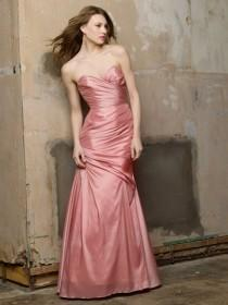 wedding photo - Frosting Taffeta Strapless Trumpet Floor Length Dress with Back Neckline Ruffle