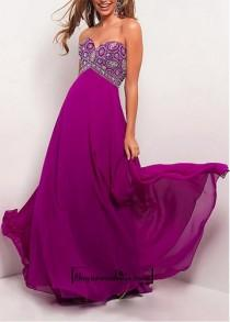 wedding photo - Attractive Chiffon Sheath Empire Waist Strapless Sweetheart Full Length Evening Gown With Beadings and Manmade Diamonds