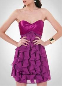 wedding photo - Attractive Stretch Satin & Chiffon A-line Strapless Sweetheart Knee Length Homecoming Dress