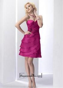 wedding photo - Attractive Taffeta A-line Strapless Sweetheart Knee Length Homecoming Dress