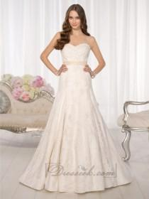 wedding photo - Strapless Sweetheart A-line Simple Lace Wedding Dresses