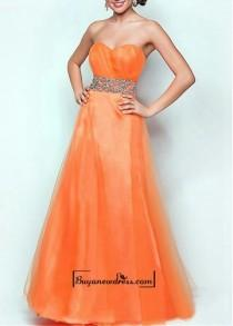 wedding photo - Attractive Tulle & Satin A-line Strapless Sweetheart Neckline Natural Waist Floor Length Beaded Prom Dress
