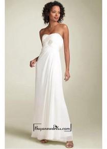 wedding photo - Beautiful Chiffon Empire Twisted Bust Strapless Prom Dress