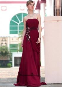 wedding photo - A-line Strapless Full Length Dark Red Beaded Evening Dress With Embroidery And Pleat