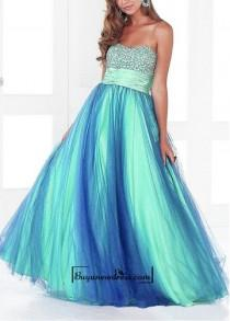 wedding photo - Amazaing Stretch Satin & Tulle Ball Gown Strapless Empire Waist Full Length Beaded Prom Gown