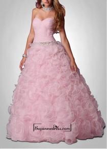 wedding photo - Amazing Organza & Satin Ball Gown Strapless Sweetheart Neckline Beaded Drop Waist Full Length Ruffled Prom Dress